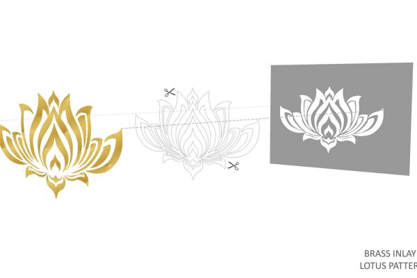 brass inlay lotus pattern